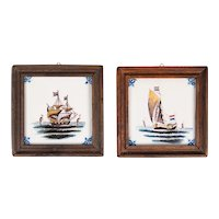Vintage Delft Faience Framed Polychrome Nautical Sailboats Tiles, Set of 2