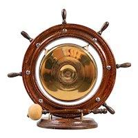 Antique English Nautical Oak & Brass Table Gong