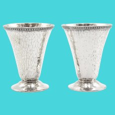 Art Deco Hand Hammered Silver Plate Cordial Cups Cocktail Jiggers, a Pair