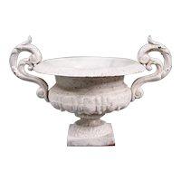 Antique 19th Century French White Medici Cast Iron Urn Jardiniere