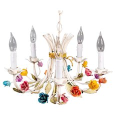 Vintage Mid-Century Italian Tole Roses Five Arm Chandelier