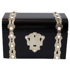 Antique 19th C. English Ebonized Domed Casket Box