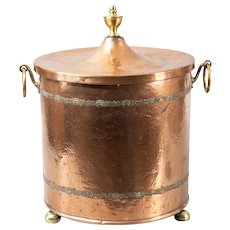 Antique English Hammered Copper & Brass Lidded Coal Bucket