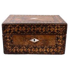 Antique 19th C. English Walnut Tunbridge Box