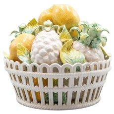 Vintage Italian Majolica Lemons & Pineapples Basket Centerpiece