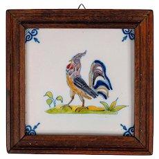Vintage Delft Faience Framed Polychrome Rooster Tile