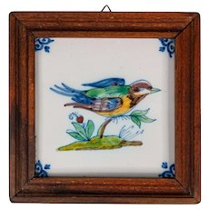 Vintage Delft Faience Framed Polychrome Bird Tile