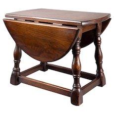 Antique Petite French Oak Drop Leaf Table