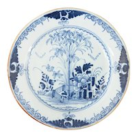 Antique 18th-Century Dutch Delft Chinoiserie Floral Plate