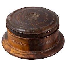 Antique Georgian Lignum Vitae Lidded Turned Treen Round Box
