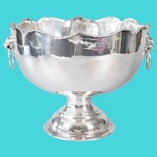 Mid Century English Silver Plate Lion Heads Pedestal Bowl Ice Bucket
