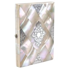 Antique English Mother of Pearl & Silver Calling Card Case