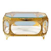 Large Antique French Ormolu Beveled Glass Jewelry Box