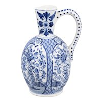 Large Antique Dutch Delft Faience Floral Pitcher Jug Ewer