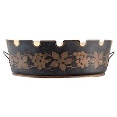 Antique French Black and Gilt Tole Jardiniere Cache Pot