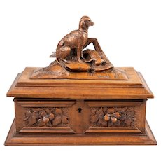 Antique 19th Century Black Forest Carved Dog Box