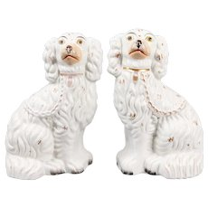 Antique 19th Century English Staffordshire Spaniel Dogs - a Pair