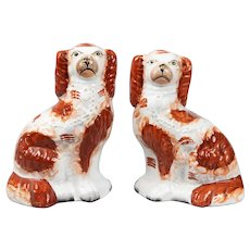 Antique 19th Century English Staffordshire Russet Spaniel Dogs, a Pair