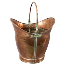Antique English Copper Coal Bucket Firewood Holder Jardiniere