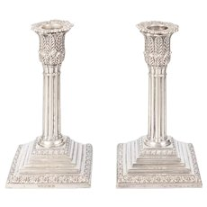 Antique 19th Century English Neoclassical Silver Plate Candlesticks, a Pair