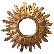 Vintage Mid Century French Gilt Sunburst Mirror