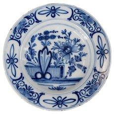 Antique 18th Century Dutch Delft Floral Plate