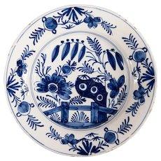 Antique 18th-Century Dutch Delft Floral Plate