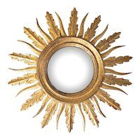 Mid Century French Giltwood Sunburst Convex Mirror