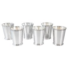 Mid Century Silver Plate Mint Julep Cups, Set of 6
