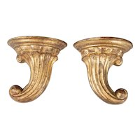 Vintage Italian Giltwood Wall Brackets, a Pair
