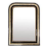 Antique 19th Century French Louis Philippe Black Lacquered Giltwood Mirror