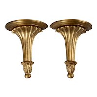 Large Mid Century Italian Giltwood Wall Brackets, a Pair