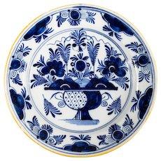 """Antique 18th Century Dutch Delft Floral Charger 13.5"""""""