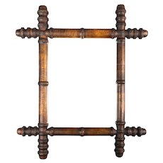Late 19th Century Antique French Faux Bamboo Carved Mirror
