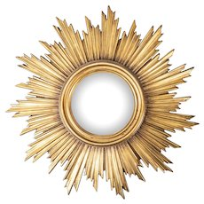 Vintage French Gilt Sunburst Convex Mirror