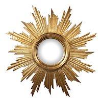 Large Vintage French Gilt Wood Sunburst Convex Mirror