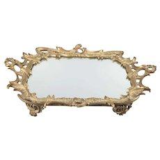 Antique French Louis XV Gilt Bronze Mirror Plateau Tray