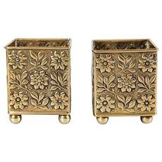 Antique English Brass Repousse Cachepots / Pen & Pencil Holders, a Pair