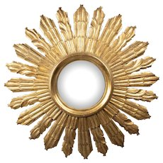 Large Vintage French Giltwood Convex Sunburst Mirror