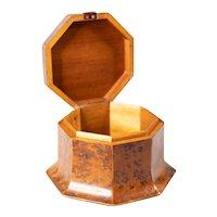 Antique French Birdseye Maple Octagonal Box