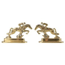 Antique 19th C. English Brass Horses & Jockeys Bookends Mantel Decorations