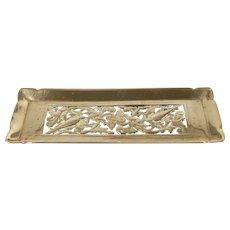19th Century Art Nouveau English Brass Desktop Pen Tray