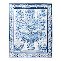 Large Vintage Dutch Delft Floral 30 Tile Wall Mural Panel