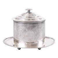 English Barker Ellis Silver Plate Tea Caddy