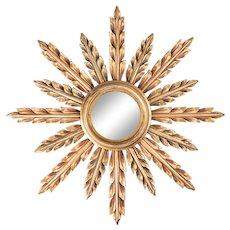 Mid-Century French Giltwood Sunburst Mirror