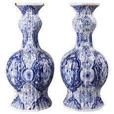 Antique 18th-Century Dutch Delft Floral Knobble Vases, a Pair