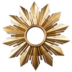 Mid Century French Giltwood Sunburst Mirror