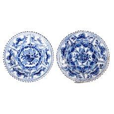 Antique 18th C. Dutch Delft Floral Plates, Set of 2