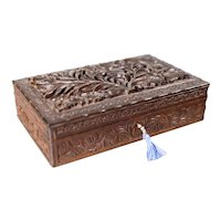 19th Century Anglo-Indian Carved Jewelry Box, Lock & Key
