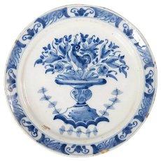 Antique 18th-Century Dutch Delft Bird & Flower Pot Plate